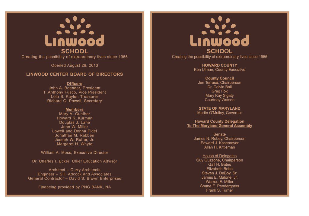 Linwood Center bronze plaques